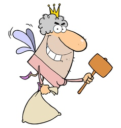 Caucasian Tooth Fairy Flying With A Bag And Mallet vector image vector image