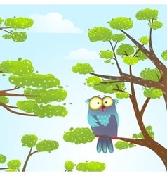 Owl sittin on tree in wild nature in sky with vector image