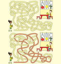 preschool maze vector image vector image