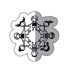 sticker silhouette group cartoon children holding vector image