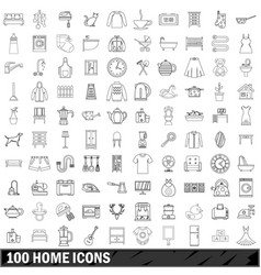 100 home icons set outline style vector image