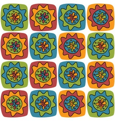 bright background with squares and flowers vector image vector image