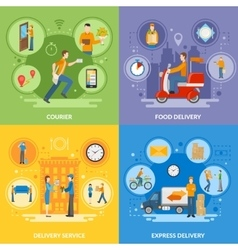 Delivery Courier People 2x2 Flat Icons Set vector image vector image