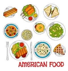 Famous main and dessert dishes of american cuisine vector image vector image