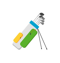 golf clubs set in bag isolated vector image vector image