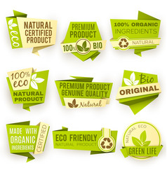 healthy organic farm fresh product stickers vector image vector image