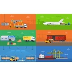 Logistics warehouse freight cargo transportation vector