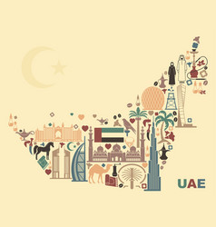 map of united arab emirates onsisting of the vector image