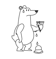 polar bear holding melted ice cream icon vector image vector image