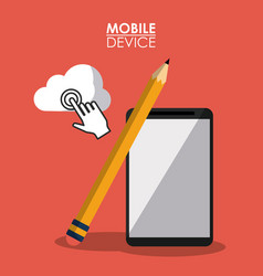 red poster mobile device with smartphone and vector image vector image