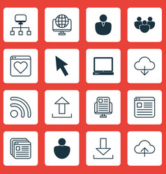 set of 16 internet icons includes wifi save data vector image vector image