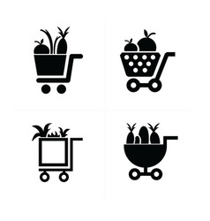 shopping cart icons and vegetables vector image vector image