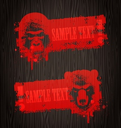 banners with animal heads vector image