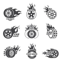 Car race logo set Wheel with fire flame vector image vector image