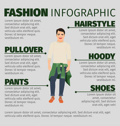 fashion infographic with young guy vector image