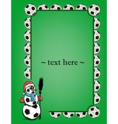 Frame with soccer balls and snowman vector image vector image