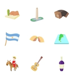 Holiday in Argentina icons set cartoon style vector image vector image