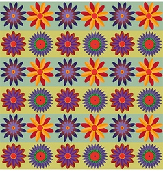 Red Orange Blue Flowers Pattern vector image vector image