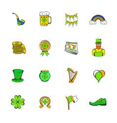 st patrick day set icons set cartoon vector image