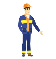 Asian builder with hand in his pocket vector