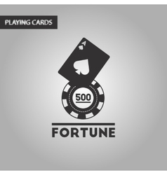 black and white style Fortune chip card vector image vector image