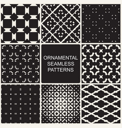 collection of dark ornamental seamless patterns vector image vector image