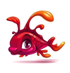 Cute fantasy red fish vector image vector image