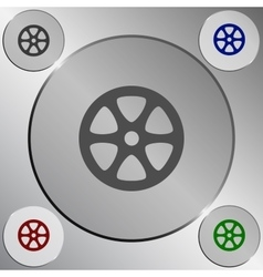 Flat paper cut style icon of old tape spool vector image