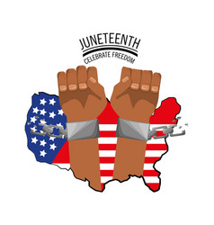 Hands with chain and flag to celebrate freedom vector