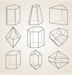 set of geometric crystals vector image vector image