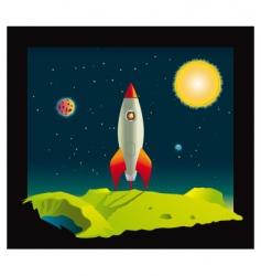 space rocket in deep space vector image vector image