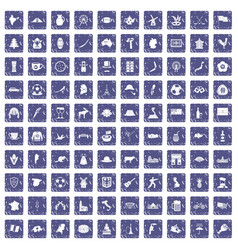 100 map icons set grunge sapphire vector image
