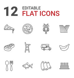 12 food icons vector image