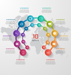 Abstract circle infographic 10 options vector