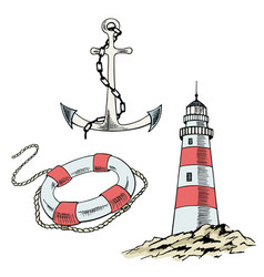 anchor boat lifebuoy sketch set vector image