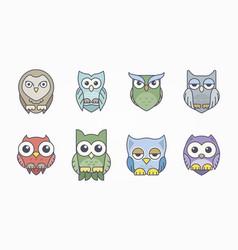 artistic cute owl set vector image