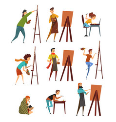 Artists painting on canvas set painter characters vector