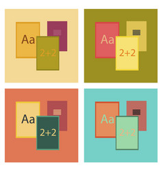 Assembly flat icons school notebooks vector