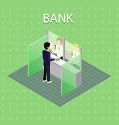 bank interior with cashier vector image