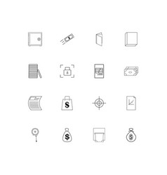 Banking finance and money linear thin icons set vector