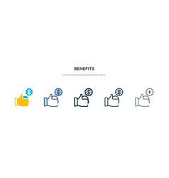 Benefits icon in different style two colored and vector