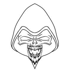 black skull on white background vector image