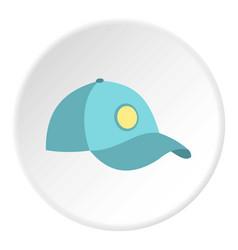 Blue baseball cap icon circle vector