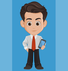 Business man cartoon character cute young vector