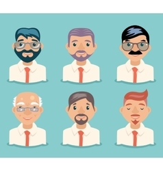 Businessman Avatars Retro Cartoon Characters vector image