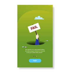 Businessman hand hold placard from hole abyss vector
