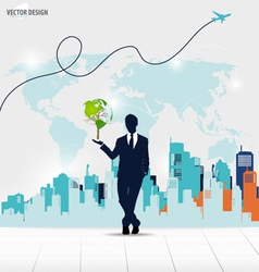 Businessman showing Tree shaped world map with vector