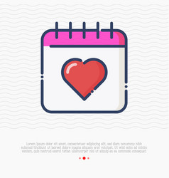 calendar with heart thin line icon vector image