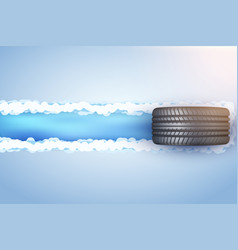 Car tire on snow and ice vector