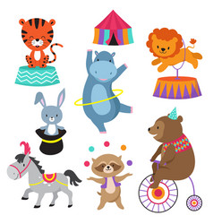 Cartoon circus animals for child birthday card vector